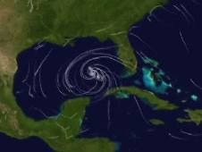 Map outlining hurricane formation in the Gulf of Mexico
