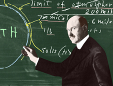 Robert Goddard at a chalkboard