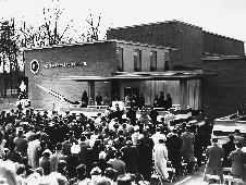 Dedication ceremonies take place at Goddard Space Flight Center in front of Building 1 on 16 March 1961.