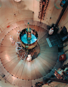 The ISEE-3 undergoing evaluation in a dynamic test chamber at Goddard.