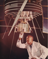 A technician checks Goddard's Radio Astronomy Explorer satellite prior to its launch on July 4, 1968.