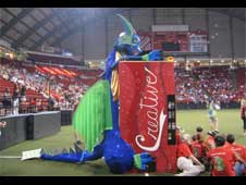 Part of the float and banner parade at Odyssey of the Mind