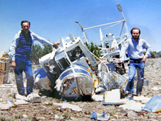 Albert Hueters and Scott Barthelmy with the GRIS instrument in pieces in Roswell, New Mexico