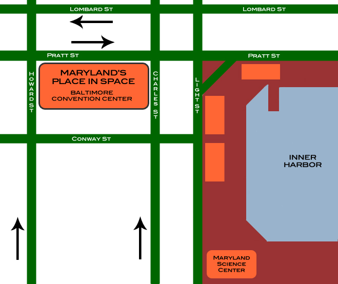 map of area surrounding Baltimore Convention Center
