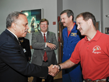 Howard President Dr. Sidney Ribeau (left) and astronaut John Grunsfeld