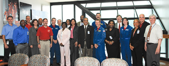 group of astronauts, Goddard officials and Howard University guests