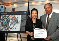 Former NASA Deputy Administrator Fred Gregory and Spin-Off art contest winner Ashley Lim