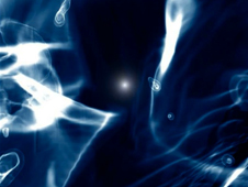Frame from a simulation showing the X-rays produced by a black hole and its effects on nearby gas.