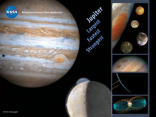Image of the Jupiter Lithograph which includes images of Jupiter and its moons.