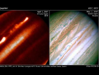 The left image shows Jupiter in infrared light, the right image shows it as visible light.