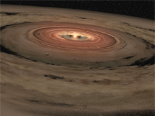 Artist's rendition of 51 Ophiuchi's inner and outer dust disks
