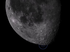 Still from video zoom-in visualization of the moon shortly after the LCROSS impact