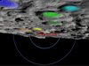 Color-coded SVS image of key lunar landmarks used to locate Cabeus crater