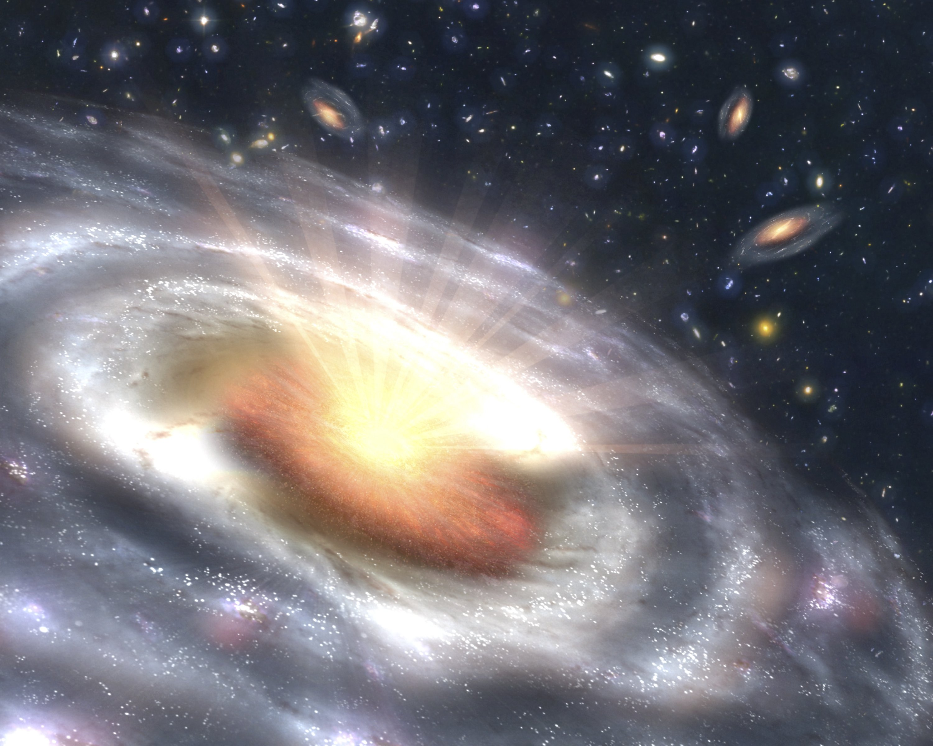 This is an artist's concept of a quasar (bright area with rays) embedded in the center of a galaxy