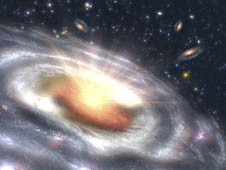 Artist's concept of a quasar in a galaxy