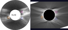 comparison of coronal image in Fe XI 789.2 nm with a white-light image