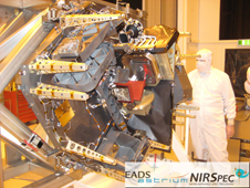 The NIRSpec Engineering Test Unit during 1g sag testing at EADS Astrium, Munich, Germany, reproduces the physical, thermal, electrical and optical (up to the Micro-Shutter Array unit) properties of the flight model.