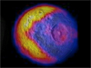 image of Mimas with thermal map superimposed