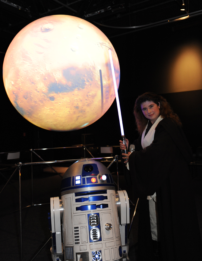 Michelle Thaller and R2-D2