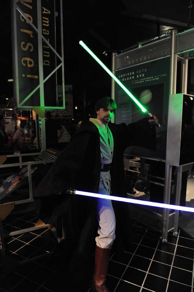 Jedi with lightsabers