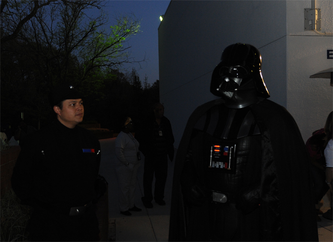 Imperial officer and Darth Vader