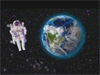 artist concept of astronaut and Earth