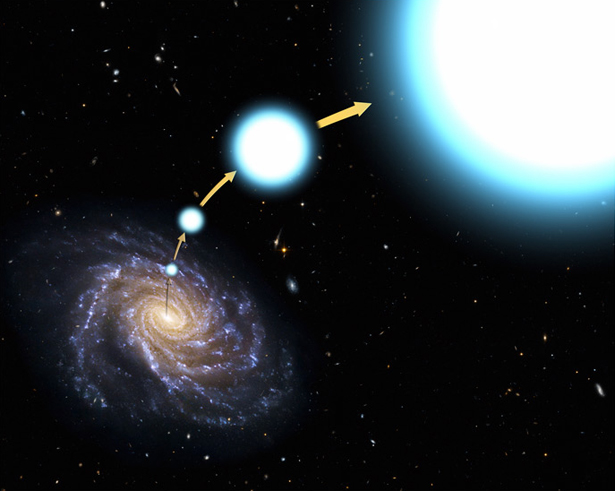 artists concept of hyperfast star HE 0437-5439 escaping the Milky Way
