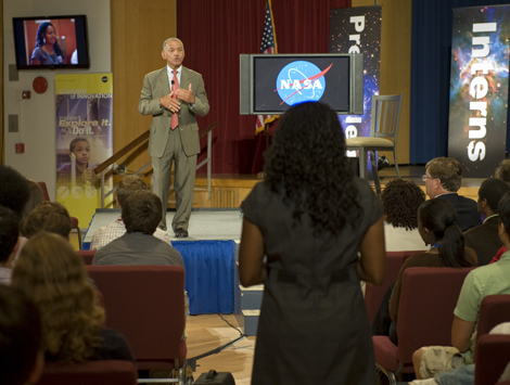 NASA Administrator Charles Bolden answers an interns' question