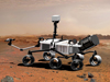 An artist's concept illustrates what the Mars rover Curiosity will look like on Mars.
