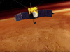 Artists conception of MAVEN orbiting Mars