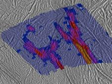 This image shows a high-resolution heat intensity map of part of the south polar region of Saturn's moon Enceladus