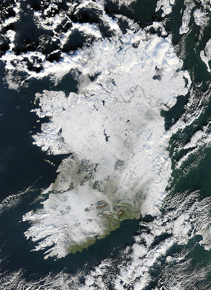 MODIS image of Ireland covered with snow