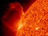 SDO captured this nicely rounded prominence eruption from March 19, 2011 as a prominence became unstable and erupted into space with a distinct twisting motion. Prominences are elongated clouds of plasma that hover above the Sun's surface, tethered by magnetic forces.