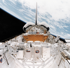 Shuttle bay showing GAS Cannisters in orbit