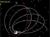 Screen capture from simulation of ARTEMIS P1 spacecraft entering lunar orbit.