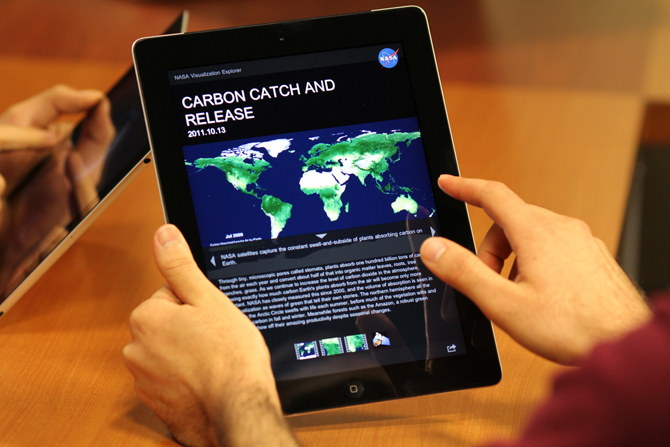 iPad with NASAViz carbon story on screen