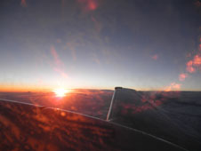 A sunrise view from the UC-12 during one of the DISCOVER-AQ mission's early morning flights.