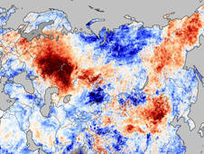Temperature map of anomalies from July 20—27, 2010, compared to temperatures for the same dates from 2000 to 2008
