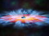 In this artist's illustration, turbulent winds of gas swirl around a black hole.