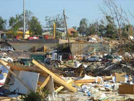 Calvin Williams' photo showing the disaster aftermath from Hurricane Katrina.