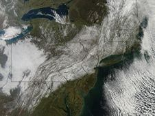 MODIS image of Halloween weekend 2011 snowstorm.