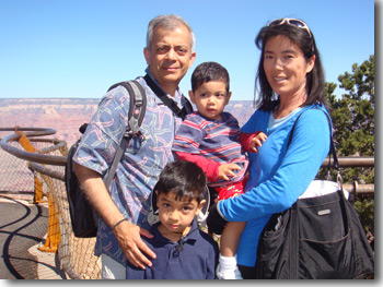 Photo of Param Nair and his family near the Grand Canyon.