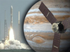 image mosaic of Juno launch and artist concept of Juno spacecraft and Jupiter