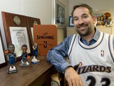 Photo of Dan Krieger with his Wizards memorabilia