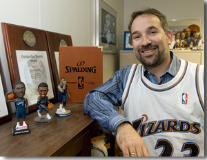Photo of Dan Krieger with his Wizards memorabilia