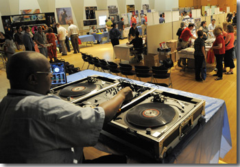 Mark Branch deejaying at Goddard Day in 2009.
