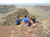 students chilling on a precipice