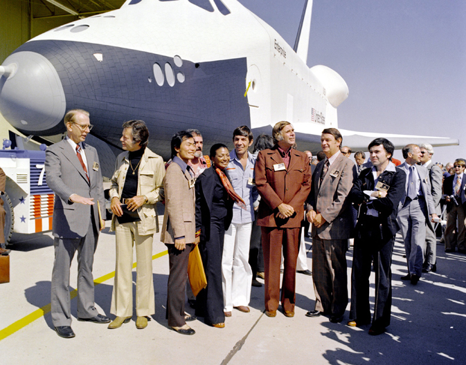 NASA officials and Star Trek cast with space shuttle Enterprise