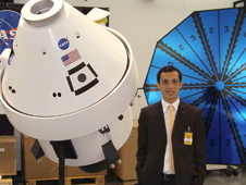 Giuseppe Cataldo poses with Orion model
