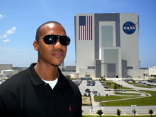 Keith at KSC, next to the Space Shuttle Endeavour Orbiter.